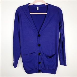 American Apparel Large Button Cardigan Blue XS/S